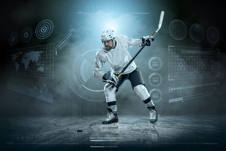 snow  ice: Ice hockey player on the ice around modern light