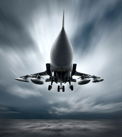 military aircraft: Military airplane at flying on the speed