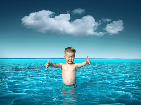 waterpool: Child in sunglasses fun near the water under sunlight