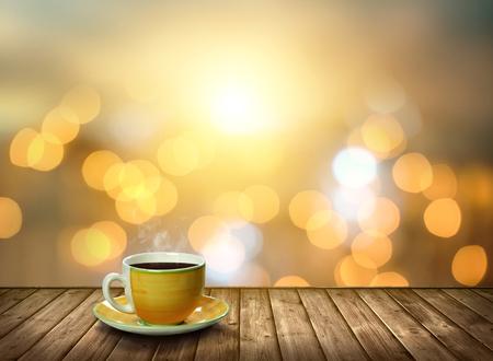 Tazza di tè sul legno alla luce bokeh città