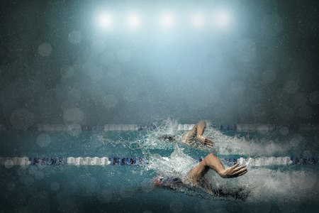 backstroke: Swimmer in waterpool
