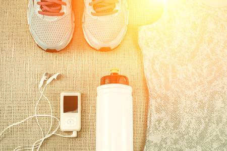 objects equipment: Beautiful sport set for running. Stock Photo