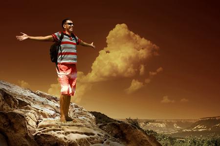 top mountain: Man on the top of mountain Stock Photo