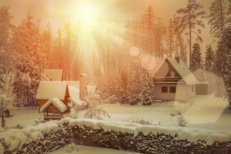 lodge: Winter view with sunlight Stock Photo