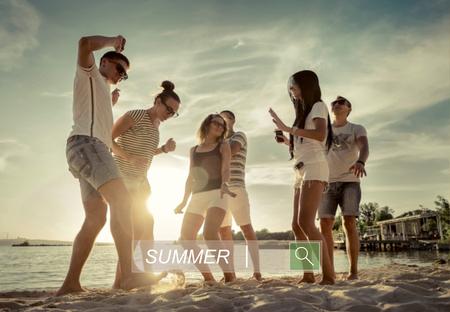 beach sunset: Friends funny dance on the beach under sunset sunlight.