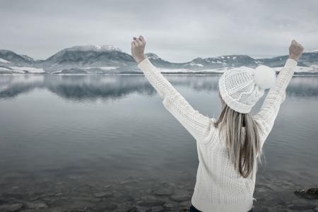 white winter: Women in white at winter. Stock Photo