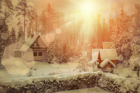 snow forest: Beautiful winter view on the villa at snow at sunny day Stock Photo