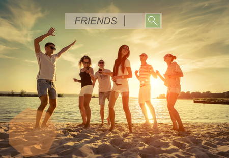 dance: Friends funny dance on the beach under sunset sunlight.