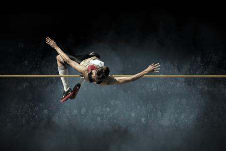 and athlete: Atleta en la acci�n de salto de altura.