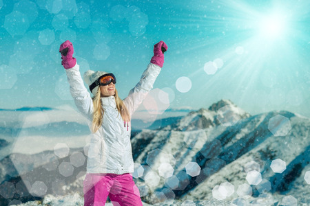 stay beautiful: Female stay on the top of mountain with beautiful view