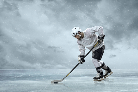 snow  ice: Ice hockey players on the ice Stock Photo