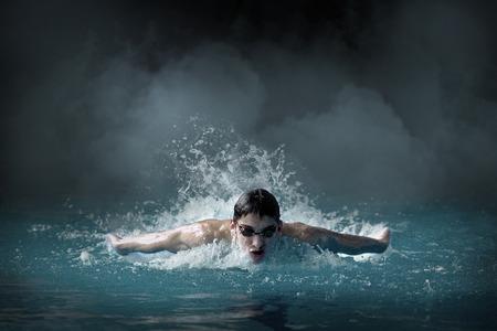backstroke: Swimmer in the pool