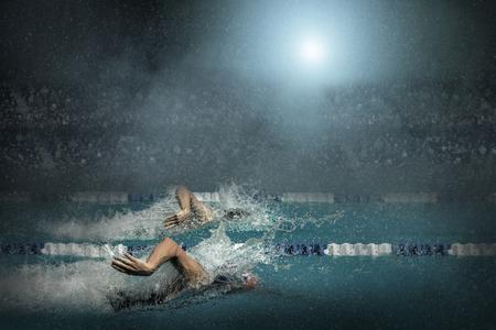 waterpool: Swimming in waterpool Stock Photo