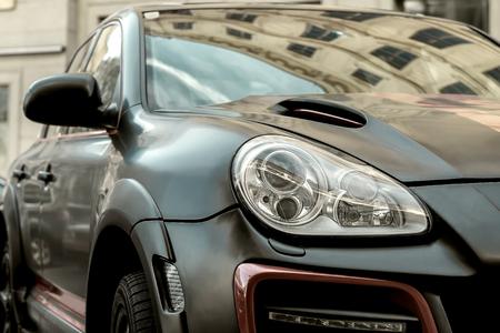 shiny: Part of contemporary luxury black car