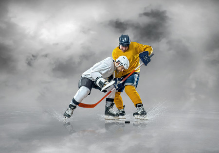 sportsmanship: hockey player on the ice in mountains