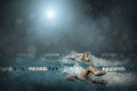 backstroke: Swimming competition Stock Photo