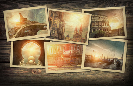 Collage travel photo cards on the wooden background