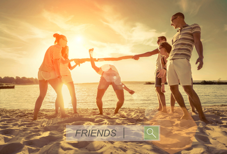 outdoor exercise: Friends funny game on the beach under sunset sunlight.