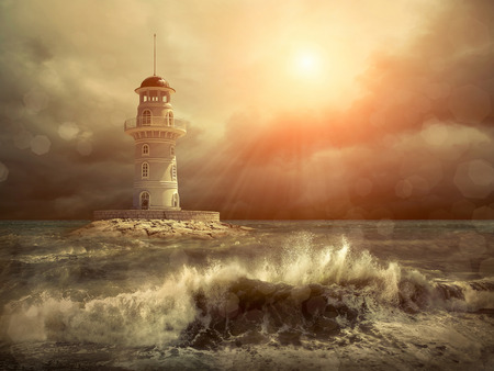 storms: Lighthouse on the sea under sky.