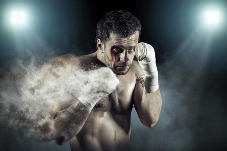 blood sport: Boxer around splash drops in action.