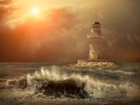 storm sea: Lighthouse on the sea under sky.