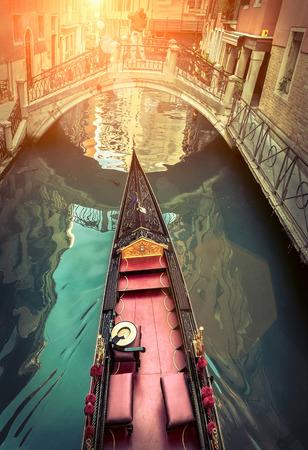 venice gondola: Venice. Gondola on canal under sunlight