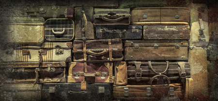 back in time: Retro  luggages bag background