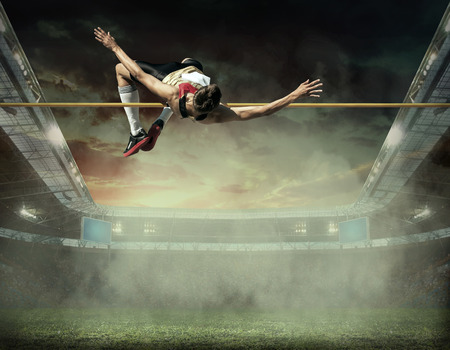 people in action: Athlete in action of high jump.