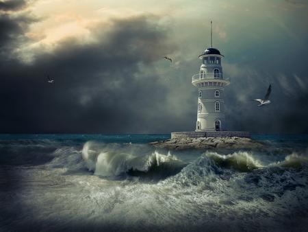 illuminated: Lighthouse on the sea under sky.