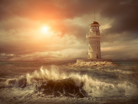 storm tide: Lighthouse on the sea under sky.