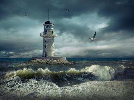 coastlines: Lighthouse on the sea under sky.