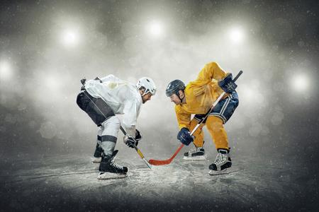 padding: Ice hockey player on the ice, outdoors