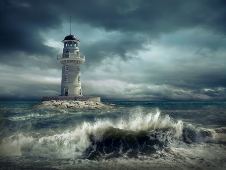 Phare sur la mer sous le ciel. Banque d'images - 69393785