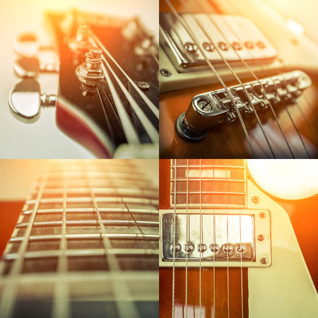 Rock guitar. Collage of close-up view parts of guitar, very popular musical instrument of the world. Stock Photo