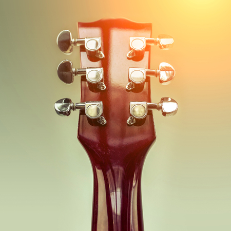 closeup view: Rock guitar. Close-up view part of guitar, very popular musical instrument of the world.