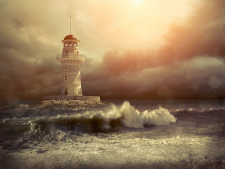 outdoor lighting: Lighthouse on the sea under sky.