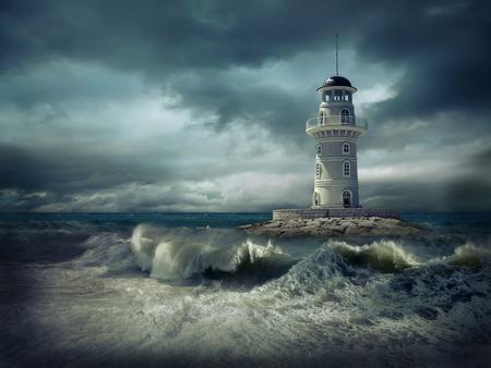 空の下の海の灯台。 写真素材 - 79854056