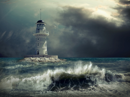 Lighthouse on the sea under sky. Banco de Imagens - 89063306