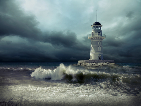 Vuurtoren op de zee onder hemel. Stockfoto - 87726434