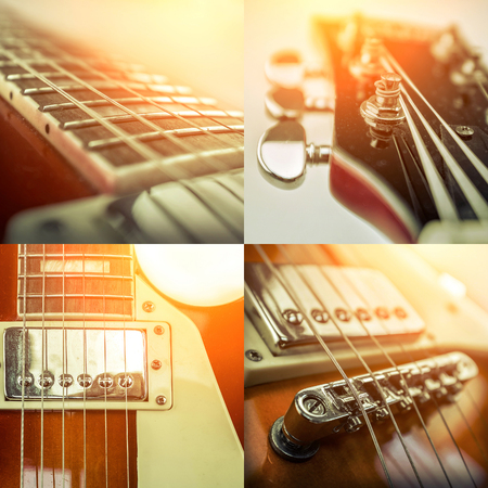 Rock guitar. Collage of close-up view parts of guitar, very popular musical instrument of the world. 写真素材
