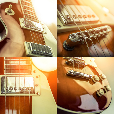 Collage of close-up view parts of guitar 写真素材