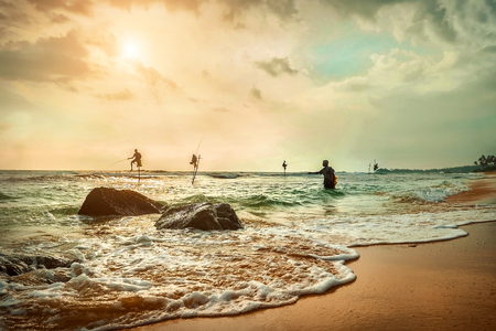SRI LANKA - January 10: Traditional Sri Lankian sea fishermans at work under sunset sunlight. Most popular cultural icon for travellers on the beaches in Sri Lanka on January 10, 2018.