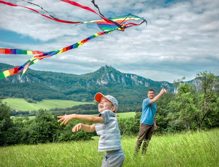 Happiness father and son launch a kite to blue sky on the field in summer sunny day. Stock Photo