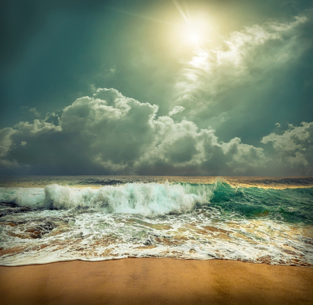 Beautiful Tropical Sea view under sunset sky at Sri Lankain beach. Stormy waves in evening time. Reklamní fotografie
