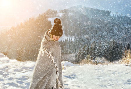 Portrait Happy Woman Traveler On The Snowy Of Mountain