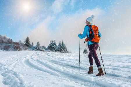 Happy woman tourist walking on the snowy trek on the peak of mountain and look on the nice winter view in sunny cold day. Concept travell and freedom. Zdjęcie Seryjne