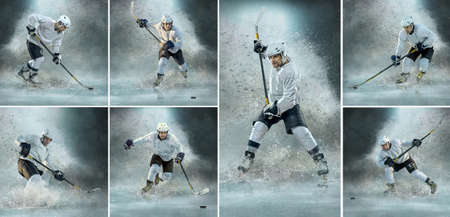 Caucassian ice hockey Players in dynamic action in a professional sport game play on the laptop in hockey under stadium lights. 免版税图像