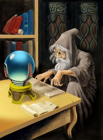 Medieval sorcerer uses computer technologies. photo