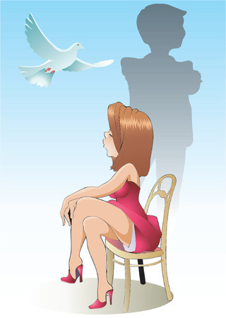 insulto: Relaciones mutuas entre la chica y su amigo. Vectores