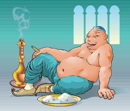 The fat man smokes a hookah after a dinner.